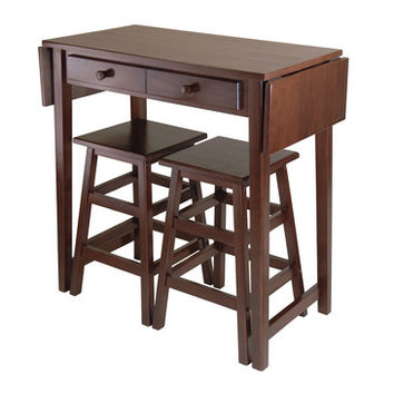 Winsome Wood Mercer Double Drop Leaf Table w/ 2 Stools in Cappuccino