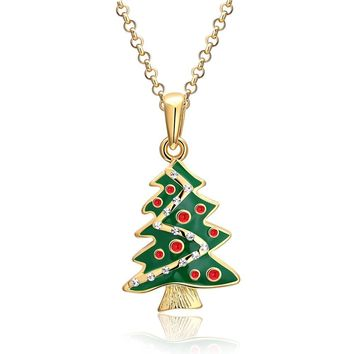 18K Gold Plated Christmas Tree Swarovski Necklace - Three Options Available