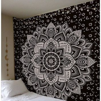 Black Flower Mandala Tapestry  82x85in