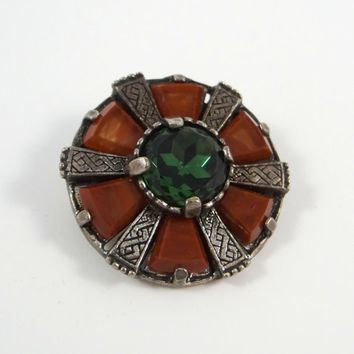 Vintage Miracle Celtic Brooch with Emerald Glass and Brown Stone