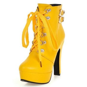 Winter Women Round Toe Ankle Boots High Heels Lace Up Shoes Double Buckle Platform Short Booties
