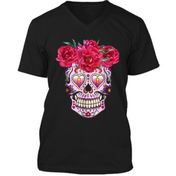 Pink Flowers Sugar Skull Day Of The Dead Halloween Mens Printed V-Neck T