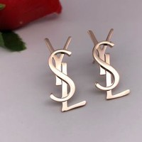 YSL Fashion Women Earring alphabet sterling Gold earrings