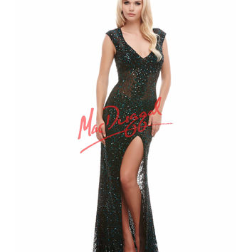 Cassandra Stone by Mac Duggal 4185A Green & Black Sequin Cap Sleeve Gown 2015 Prom Dresses