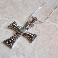 Abalone Cross Pendant Necklace Sterling Silver Marcasites Vintage