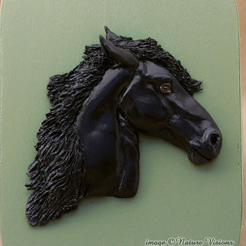 Friesian Horse Art Clay Horse Sculpture on Wood Box Original Art Black Horse Lovers Gift
