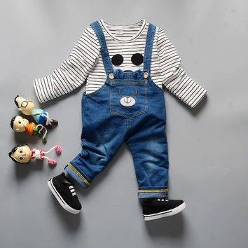 Baby Boy Girl Mickey Mouse Cotton Thicken Tracksuit Clothing Set Children T-shirt Coat  Jeans 2pcs Kids Bib Coveralls Sport Suit
