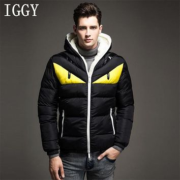 IGGY New Fashion Design Men's Winter Jacket Big Eye Contrast Cotton-padded Parka Puffer Hooded Coat Veste Homme Hiver 4XL