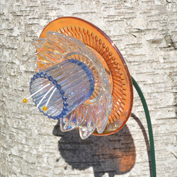 Recycled Garden Art, Mini Flower, Cottage Garden, Suncatcher, W/ Metal Stake, Orange Floral, Outdoor Vintage Decor, Yard Art