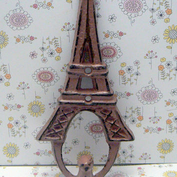 Eiffel Tower Cast Iron Shabby Chic Distressed Blush Dusty Rose Single Wall Hook French Decor Paris Coat Jewelry Key Keys Hat Leash Hook