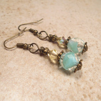 Mint Green and Yellow Earrings Antiqued Brass Made with Vintage Beads and Swarovski Crystals Swirl Beaded Vintage Style Womens Gift Jewelry