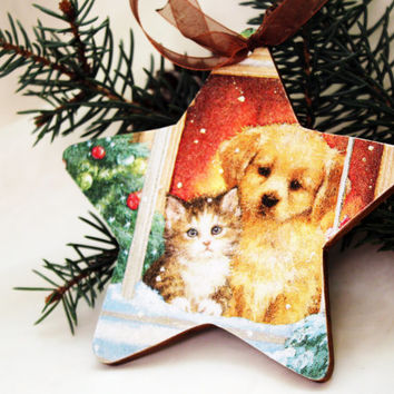 Wooden Christmas ornament, Christmas decorations, cat lover gift, dog lover gift, holiday decor, gift for girl, Christmas tree toys, kittens