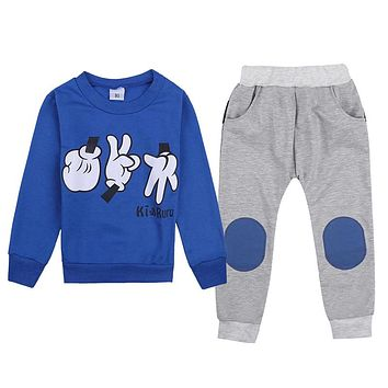 2pcs Baby Clothes Baby Outfit Sets Autumn Baby Clothes Kids Boys Finger Games Tracksuits Long Sleeve Tops+ Long Pants 2-7Y