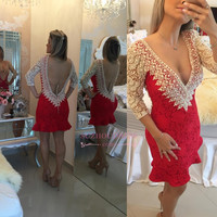Red/Pink/Blue Prom Dress 2016 Sexy Deep V Neck Lace Beaded Hollow Back Mini Short Ruffles Party Dresses Prom Gowns  8301641