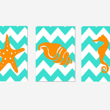 Nautical Nursery Decor- Nautical Home Wall Decor- Set of 3 Prints- Chevron- Orange Turquoise- Starfish, Shell, Seahorse- 3 8x10 Prints