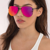 QUAY The Playa Mirrored Aviator Sunglasses