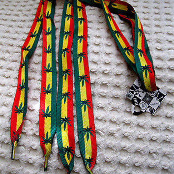 Rasta Red Yellow Green Stripes MJ Weed Marijuana Leaves Punk Shoe Laces-New!