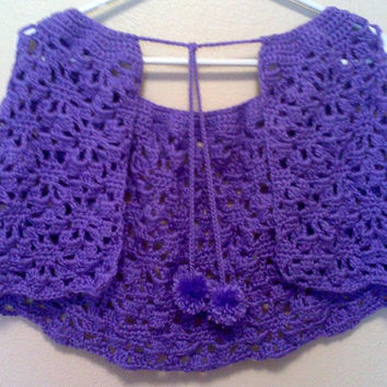 Purple Summer Capelet with Flower, Womens Lacy Crochet Shawl