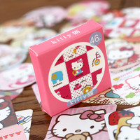 R29 46 pcs pack Cute Kawaii Hello Kitty Decorative Stickers Scrapbooking DIY Diary Album Stick Label Decor