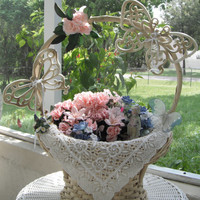 Wedding Basket /Wedding Centerpiece/Shower Centerpiece/Homco Butterflies/Floral Basket - by FairyLace Designs
