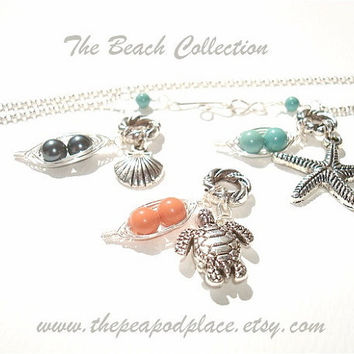 Custom Beach necklace - pick turtle - shell or  starfish and the colors of  pearls in the 2 peas in a pod  - best friends - sweet pea