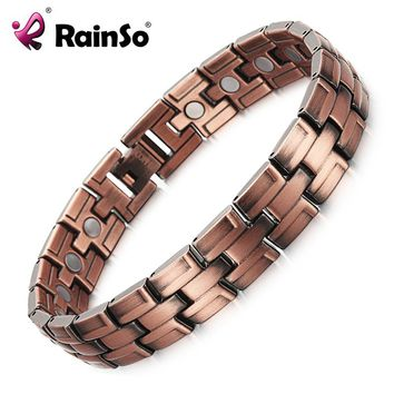 RainSo Copper Bracelets with Magnet for Men Women Arthritis Pain Relief Bronze Color High Quality Luxury Magnetic Bracelet