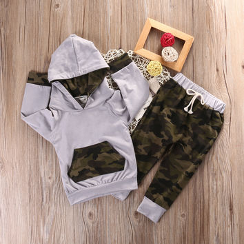 Newborn Infant Baby Boy Clothes Set Long Sleeve T-shirt Pants Casual Hooded Tops Outfits Camouflage Boys Clothing 2PCS Set