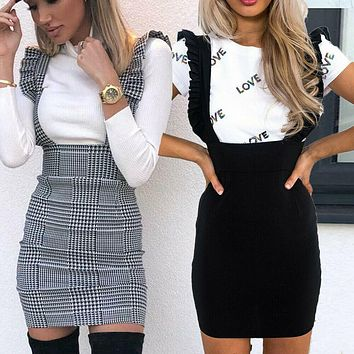Women's Hounds Tooth Ruffle Bodycon Party Mini Dress