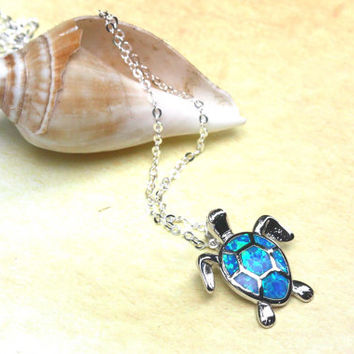 blue fire opal turtle pendant, sea turtle pendant, opal jewelry, sea turtle, tortoise necklace, opals, turtle necklace, animal jewelry