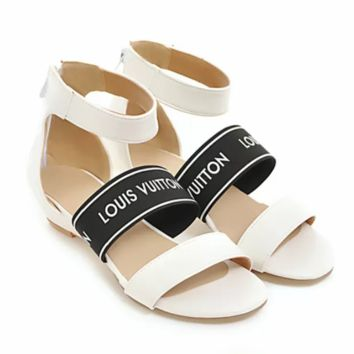 LV tide brand contrast color casual college wind low heel to back zipper sandals white