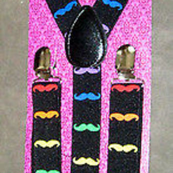 Multi Color Mustaches Adjustable Bow tie & Matching Adjustable Suspenders Combo
