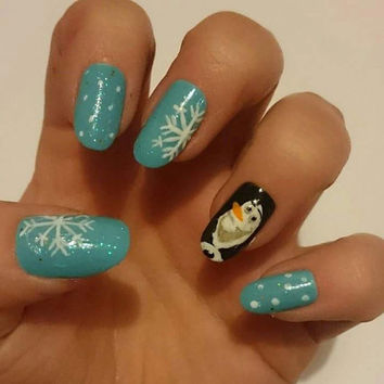 Frozen Winter Wonderland Glue On Olaf Nails / Blue Snow Press On Stiletto Christmas Nails / Long Artificial Snowflake Nail Decals