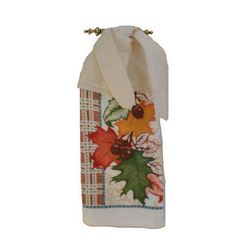 Leaf and Acorn Towel, Fall Dish Towel, Kitchen Hand Towel, Fall Decor, Tie On Towel, Towel With Ties, Hanging Towel, Dish Towel, Tea Towel