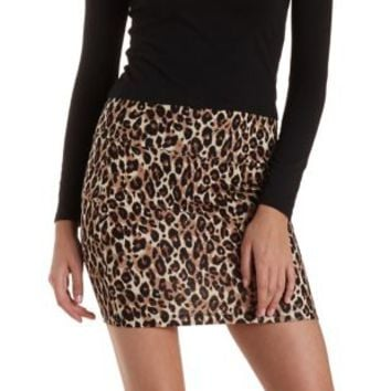 Brown Combo Leopard Print Bodycon Mini Skirt by Charlotte Russe