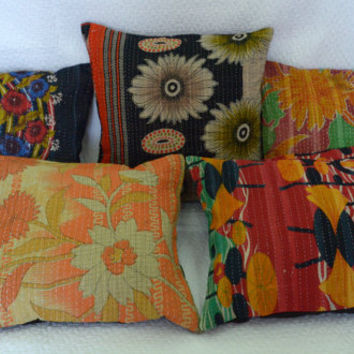 Set Of 10 Pillow Cover, Vintage Kantha Decorative throw Pillow, Kantha Pillow, Kantha Cushion, Gypsy pillow, Bohemian Pillow, Indian Pillow