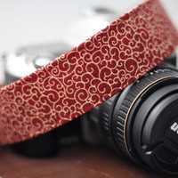 Fall Camera Strap - Maroon and Gold - Pretty Camera Accessories for Canon / Nikon