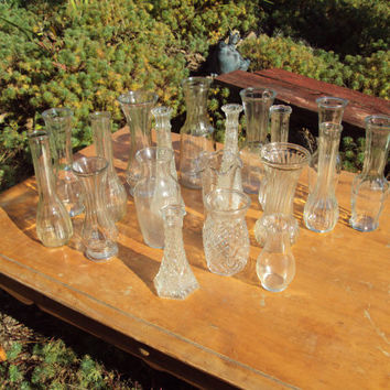 19 Vintage Clear Glass Vase collection Wedding Table setting centerpiece Flower Bud Vase compote floating Candle holders Table number Holder