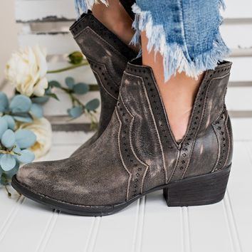 Starstruck Leather Booties (Charcoal)