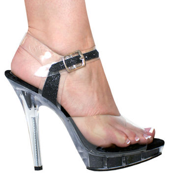Black Glitter 5 inch Heel With Glitter Filled Platform.