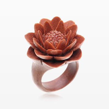 Water Lily Sabo Wood Fashion Ring