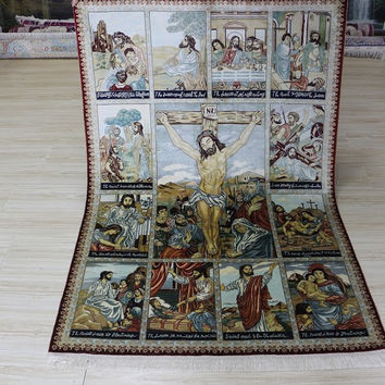 4'x6' Hand Woven Pure Silk Rug Persian Style with Jesus Portraits (SYX-4620, Multi Color)