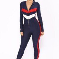 Team Effort Hooded Jumpsuit - Navy