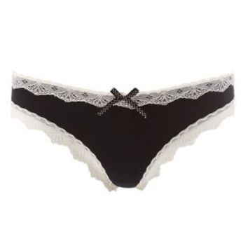 Black Combo Contrast Lace-Trim Thong Panties by Charlotte Russe