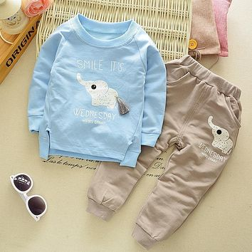 Stay Naive Kids Clothing Sets Baby Boys Girls Cartoon Elephant fall Children Clothes Child T-Shirt+Pants Suit