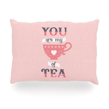 "Daisy Beatrice ""My Cup of Tea"" Pink Purple Oblong Pillow"