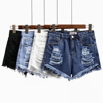 S-2XL High Waist Ripped Denim Jean Short