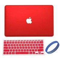 "Worldshopping Red Frost Matte Surface Rubberized Hard Shell Case Cover With Silicone Skin Protective Keyboard Film Cover For Macbook Air 13"" 13.3"" A1369 & A1466 + Free Accessory"