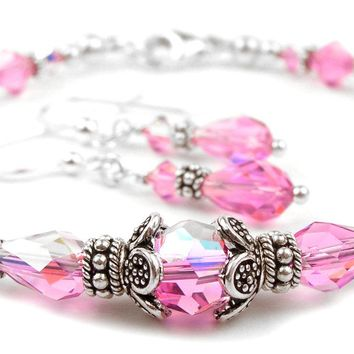 DAMALI Sterling Silver Crystal Birthstone Bangle Bracelet w/ Earrings Pink Tourmaline October