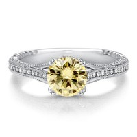Round Canary Cubic Zirconia 925 Sterling Silver Solitaire Ring 1.28 ct #r505