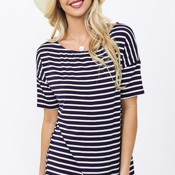 Striped Half Sleeve Top - Navy